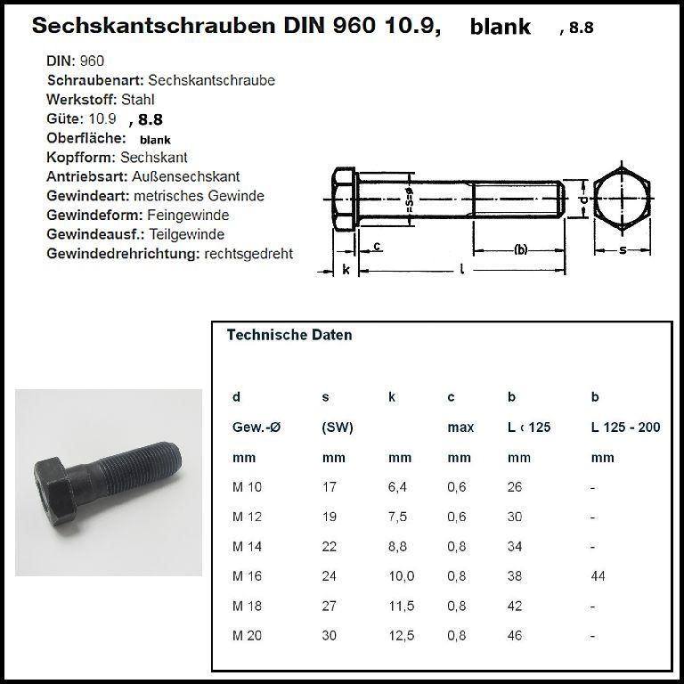 Stahl 2 Stk DIN 960 Sechskantschraube M20x1,5x200 Feingewinde mit Schaft