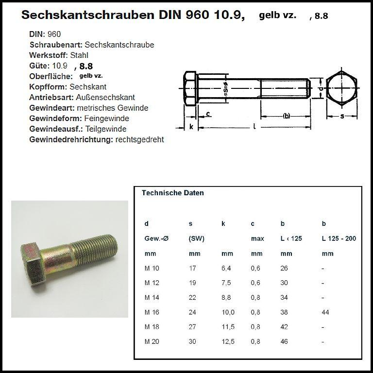 10 Stk DIN 960 Sechskantschraube M14x1,5x100 Feingewinde mit Schaft Stahl verzinkt