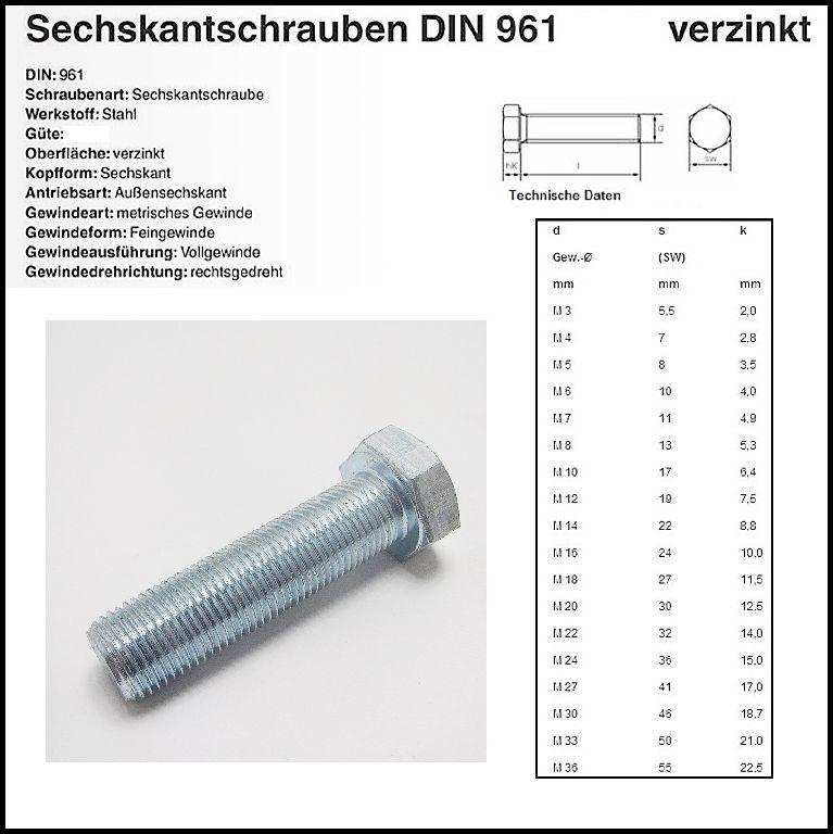1 Stück M10X1X60 Sechskantschraube DIN 961 Edelstahl A2 FEINGEWINDE